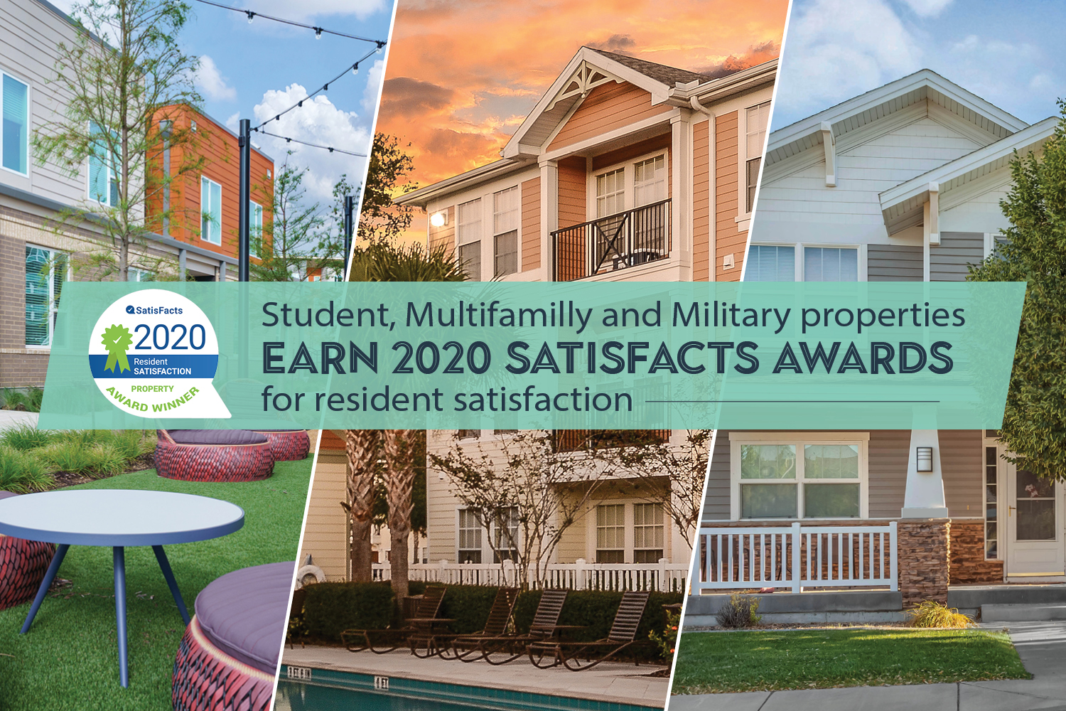 Student, Multifamily and Military properties earn 2020 SatisFacts Awards for resident satisfaction